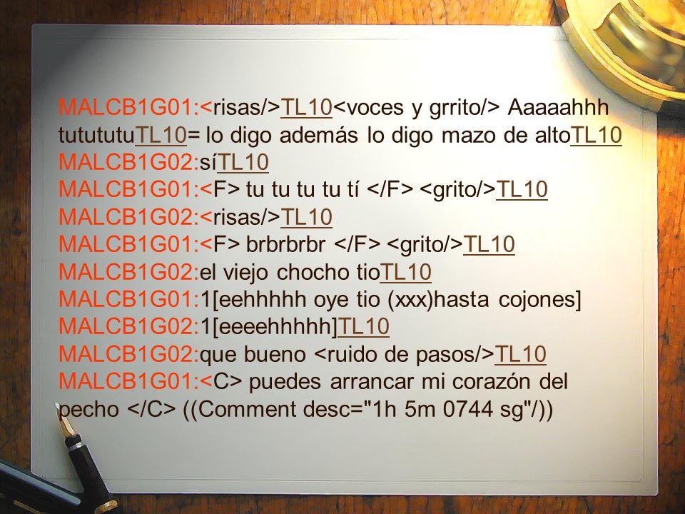 MALCB1G01:<risas/>TL10<voces y grrito/> Aaaaahhh tutututuTL10= lo digo además lo digo mazo de altoTL10 MALCB1G02:síTL10 MALCB1G01:<F> tu tu tu tu tí </F> <grito/>TL10 MALCB1G02:<risas/>TL10 MALCB1G01:<F> brbrbrbr </F> <grito/>TL10 MALCB1G02:el viejo chocho tioTL10 MALCB1G01:1[eehhhhh oye tio (xxx)hasta cojones] MALCB1G02:1[eeeehhhhh]TL10 MALCB1G02:que bueno <ruido de pasos/>TL10 MALCB1G01:<C> puedes arrancar mi corazón del pecho </C> ((Comment desc= 1h 5m 0744 sg /))